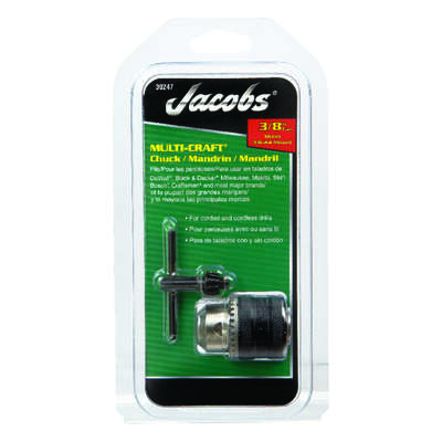 Jacobs 3/8 in. Drill Chuck 3/8 in. 3-Flat Shank 1 pc.