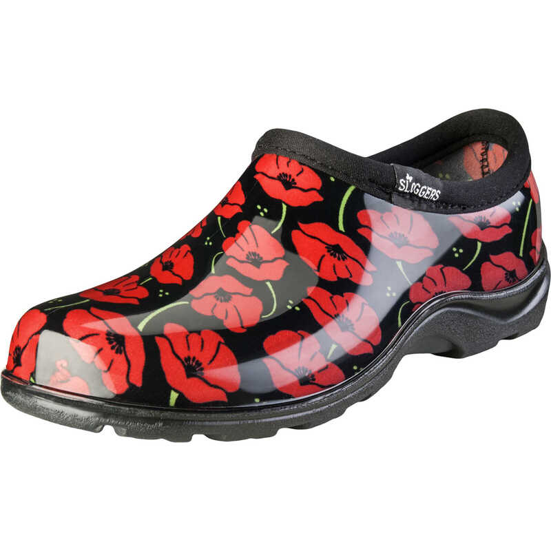 Sloggers  Red Poppies  Women's  Garden/Rain Shoes  8 US  Black/Red