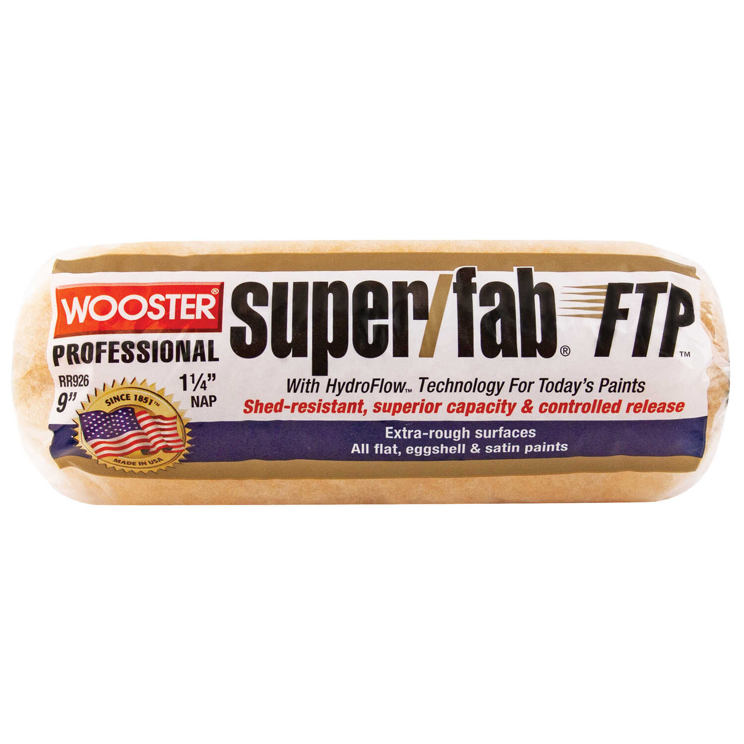 Wooster  Super/Fab FTP  Synthetic Blend  1-1/4 in.  x 9 in. W Paint Roller Cover  For Extra Rough Su
