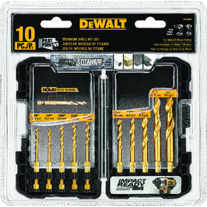 DeWalt  Titanium  Impact Ready  Drill Bit Set  10 pc.