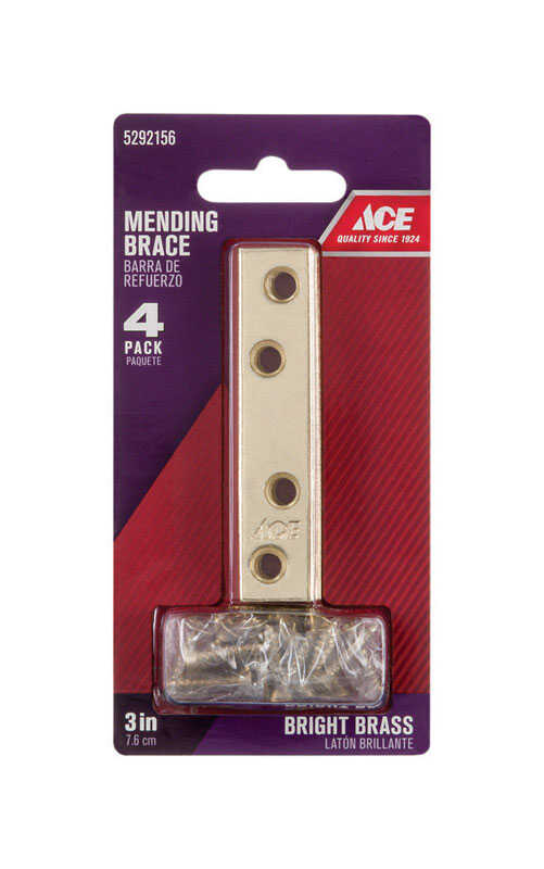 Ace  3 in. H x 0.625 in. W x .87 in. L Bright  Brass  Mending Brace