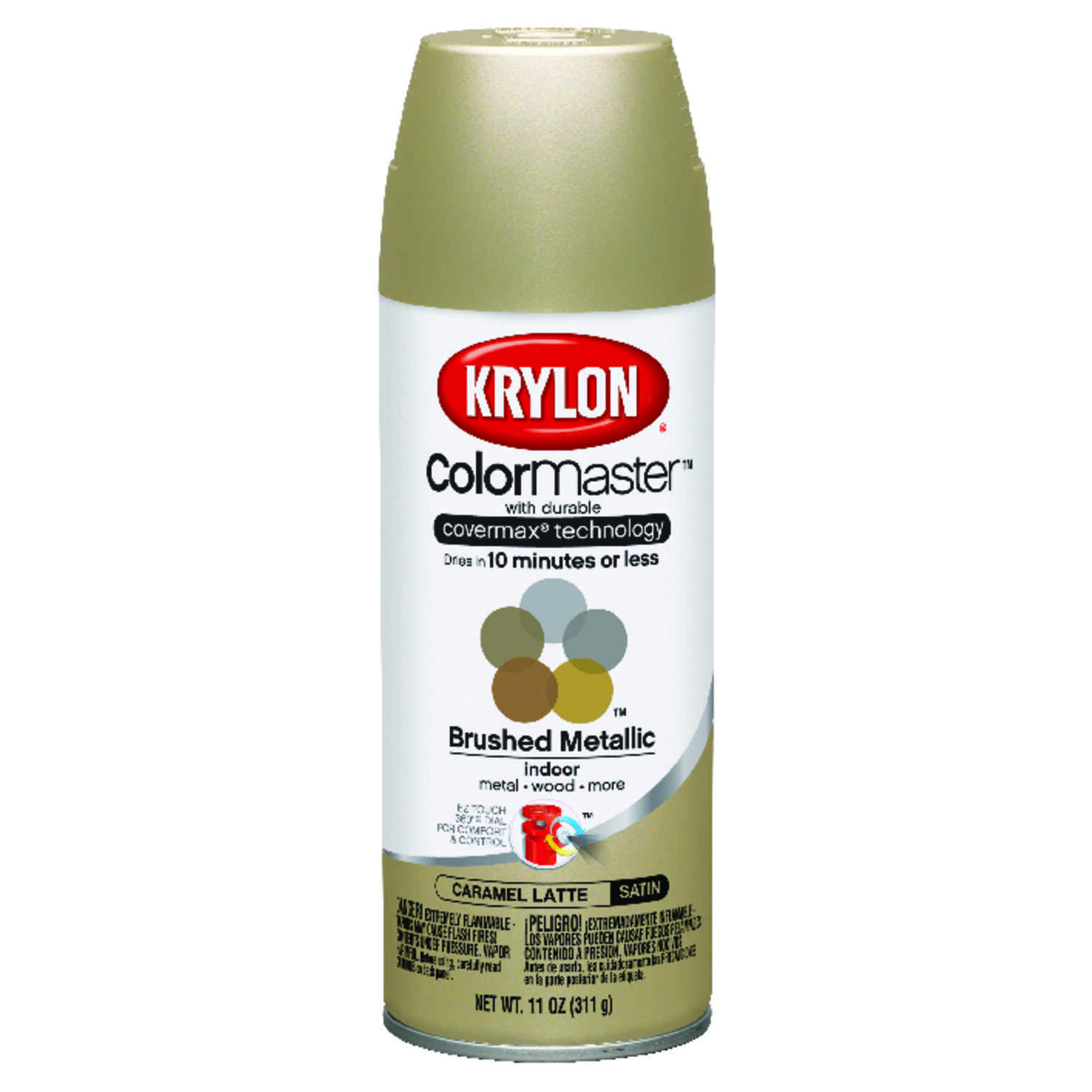 Krylon  ColorMaster  Matte  Caramel Latte  Metallic Spray Paint  11 oz.