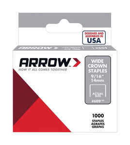Arrow Fastener  #609  9/16 in. L x 3/8 in. W Wide Crown  Standard Staples  1000 pk
