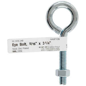 Hampton  5/16 in.  x 3-1/4 in. L Zinc-Plated  Steel  Eyebolt  Nut Included