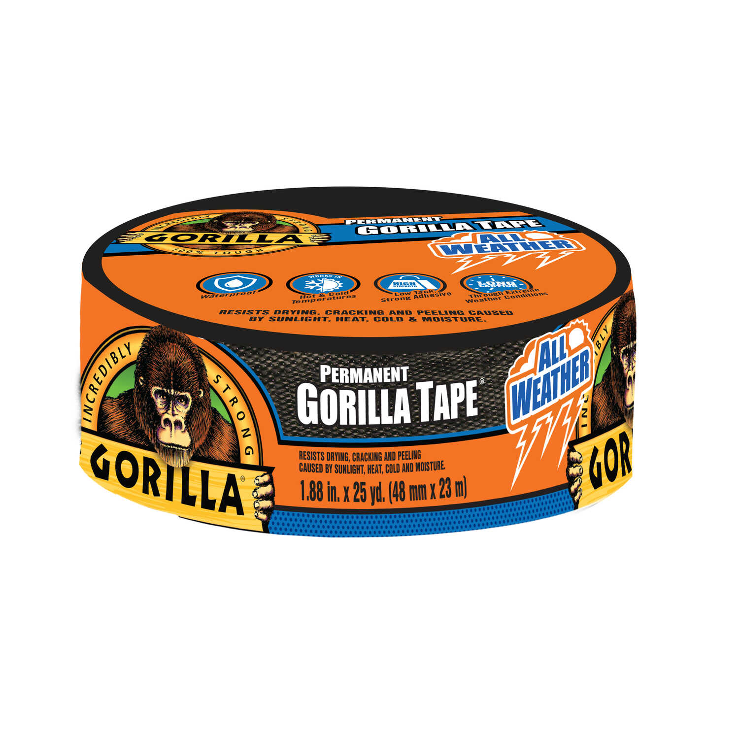 Gorilla  1.88 in. W x 25 yd. L Black  Duct Tape