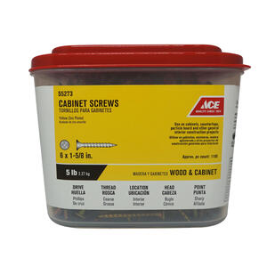 Ace  No. 6   x 1-5/8 in. L Phillips  Yellow Dichromate  Cabinet Screws  5 lb. 1100 pk