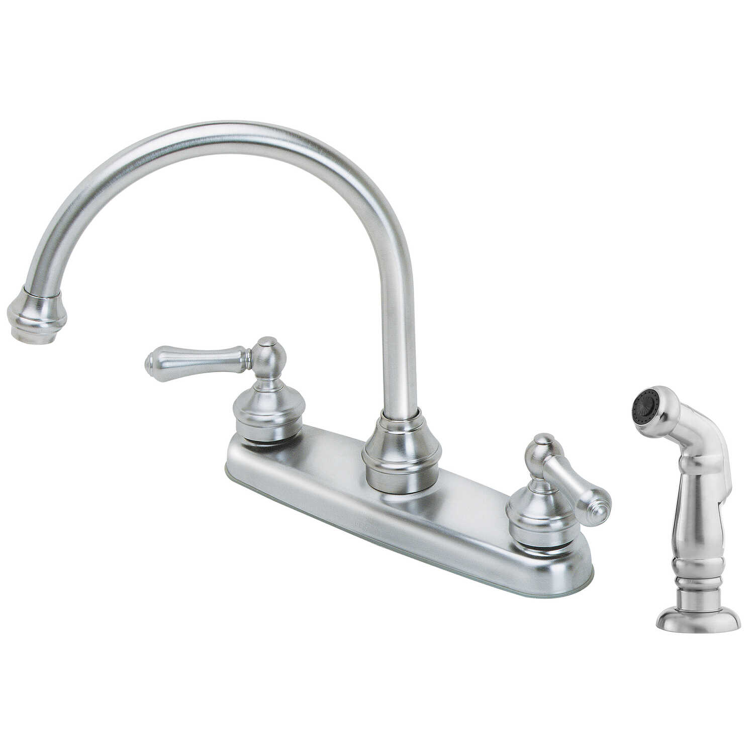 Pfister  Savannah  Two Handle  Stainless Steel  Kitchen Faucet  Side Sprayer Included