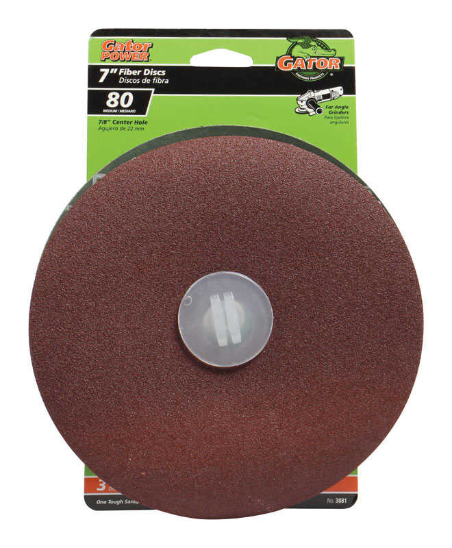 Gator  7 in. Aluminum Oxide  Center Mount  Fiber Disc  80 Grit Coarse  3 pk