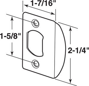 Prime-Line  2.25 in. H x 1-5/8 in. L Brass Plated  Steel  Latch Strike Plate