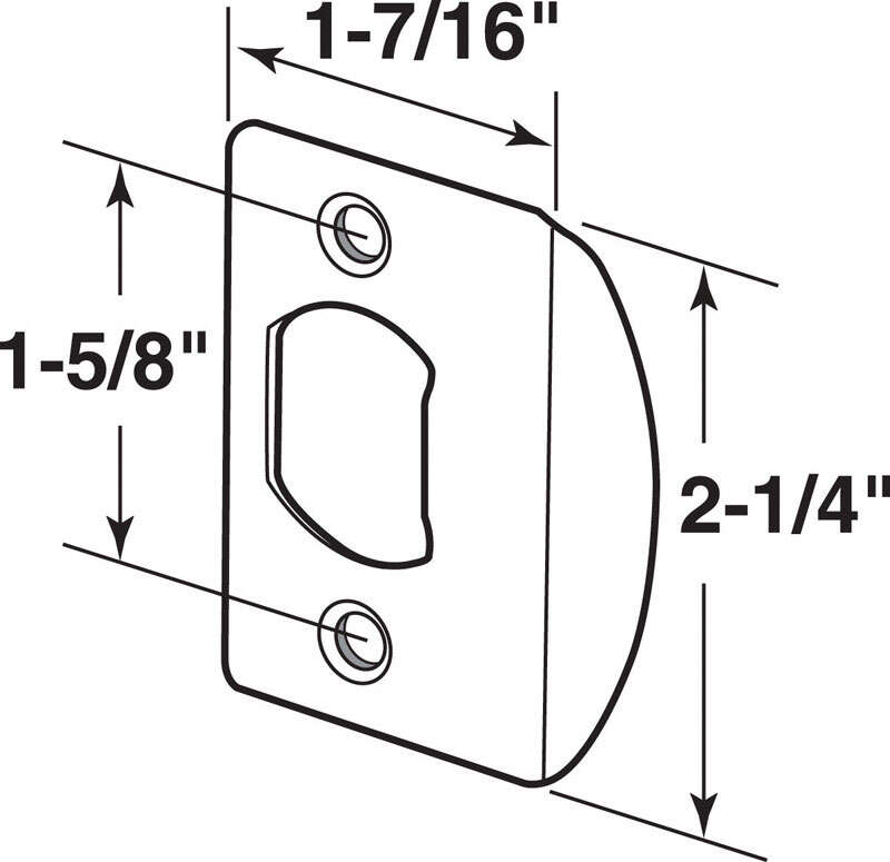 Prime-Line  2.25 in. H x 2-5/8 in. L Brass Plated  Steel  Latch Strike Plate