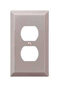 Amerelle  Century  Brushed Nickel  1 gang Stamped Steel  Duplex Outlet  Wall Plate  1 pk