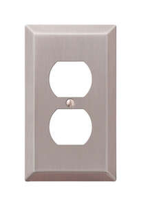Amerelle  1 gang Stamped Steel  Wall Plate  1 pk Duplex Outlet