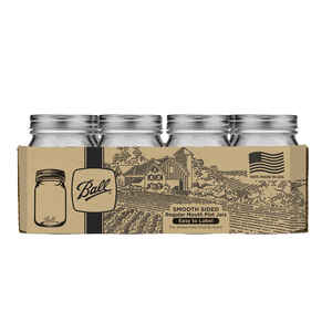Ball  Smooth Sided  Regular Mouth  Canning Jar  Pint  12 pk