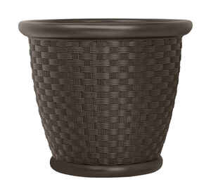Suncast  Sonora  15.75 in. H x 18 in. W Brown  Resin  Planter