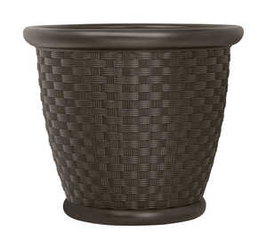Suncast  16.5 in. H x 18 in. W Brown  Resin  Planter