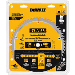 DeWalt  10 in. Dia. x 5/8 in.  Carbide  Circular Saw Blade  60 teeth 1 pk