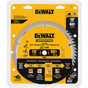 DeWalt  10 in. Dia. x 5/8 in.  Carbide Tipped  Construction  Circular Saw Blade  60 teeth 1 pk