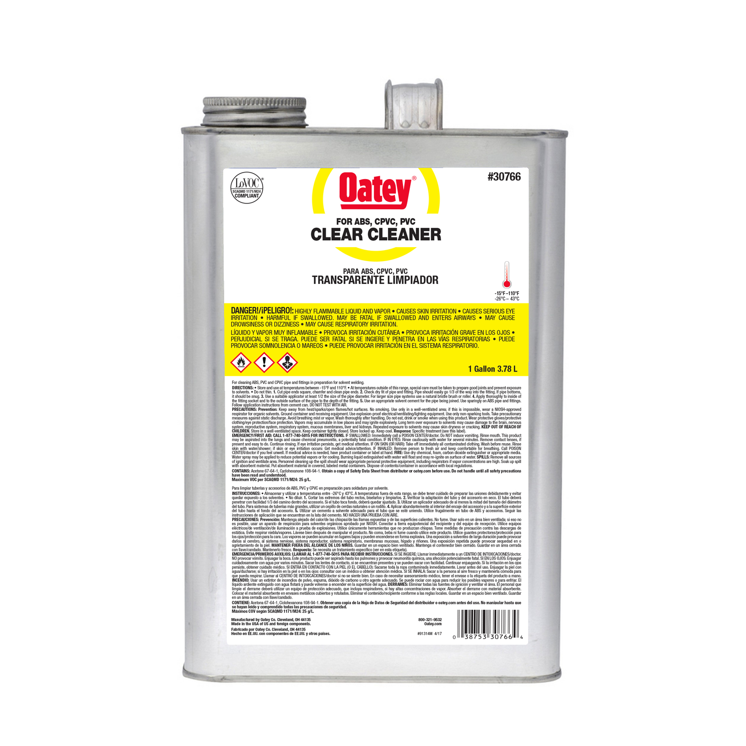 Oatey  Clear  Primer and Cement  For ABS/CPVC/PVC 1 gal.