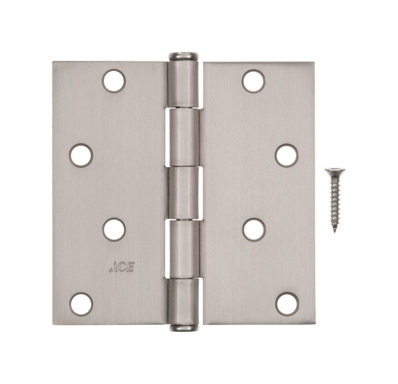 Ace  4 in. L Satin Nickel  Steel  Residential Hinge  1 pk