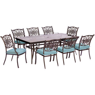 Hanover  9 pc. Bronze  Aluminum  Dining Patio Set  Blue