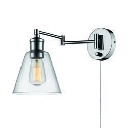 Globe Electric 2 in 1 Hardwire or Plug-In 1-Light Chrome Metallic Wall Sconce