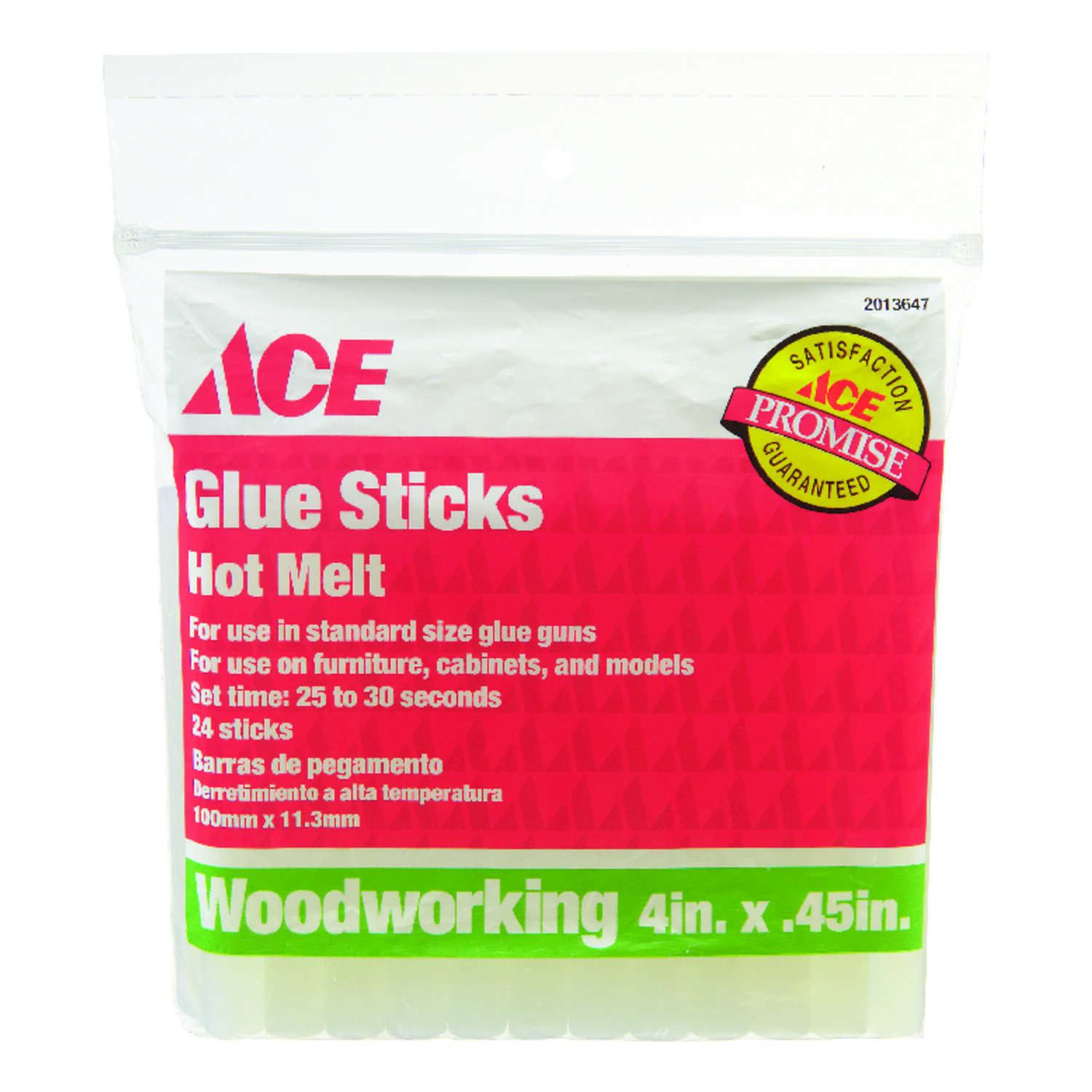 Ace .45 in. Dia. x 4 in. L Woodworking Glue Sticks Clear 24 pk