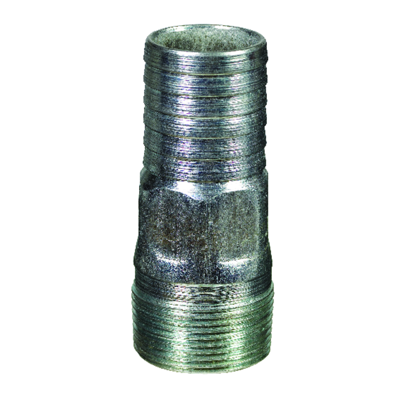 B & K  1-1/4 in. Barb   x 1-1/4 in. Dia. MPT  Galvanized  Galvanized Steel  Adapter