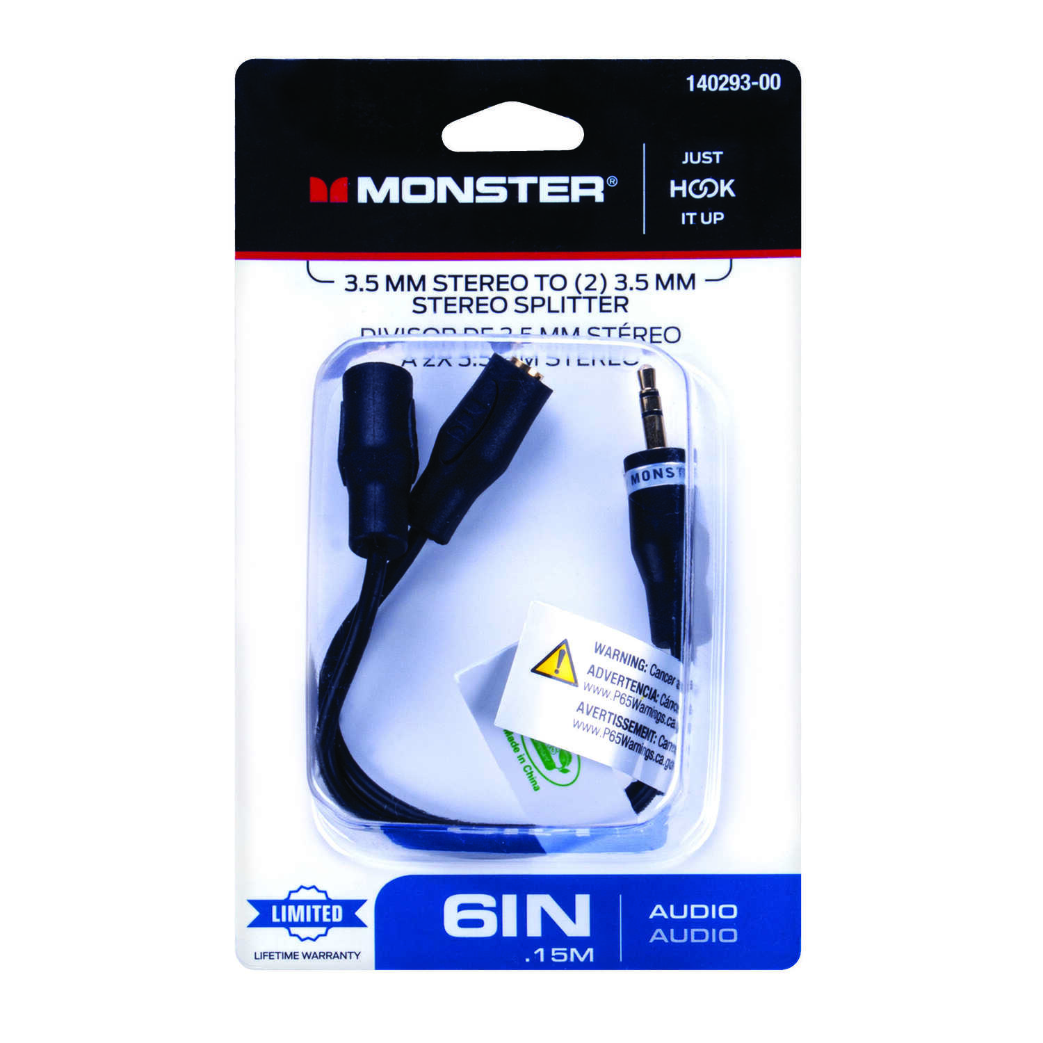 Monster Cable  Just Hook It Up  Stereo Splitter  1 pk 6 in. L