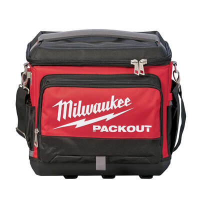Milwaukee  PACKOUT  15.75 in. W x 11.81 in. H Ballistic Nylon  Cooler Utility Bag  6 pocket Black/Re
