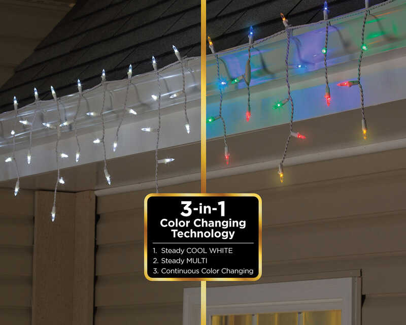 Celebrations  LED  Icicle  Light Set  Cool White to Multicolored  12.5 ft. 100 lights