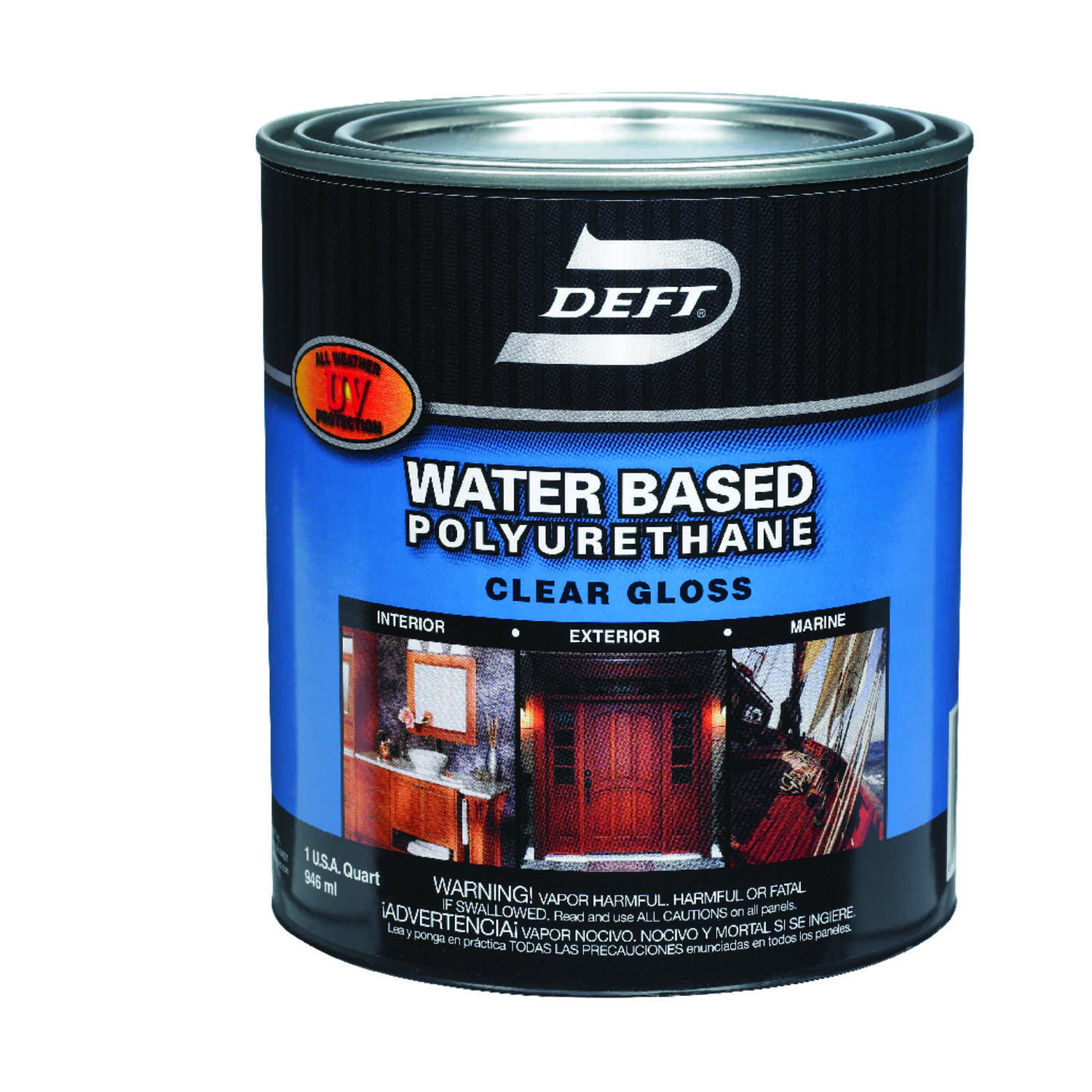 Deft  Water Based Polyurethane  Gloss  Clear  Waterborne Wood Finish  1 qt.