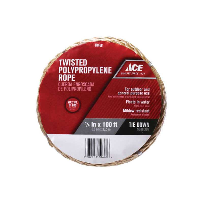 Ace  1/4 in. Dia. x 100 ft. L Brown  Twisted  Poly  Rope