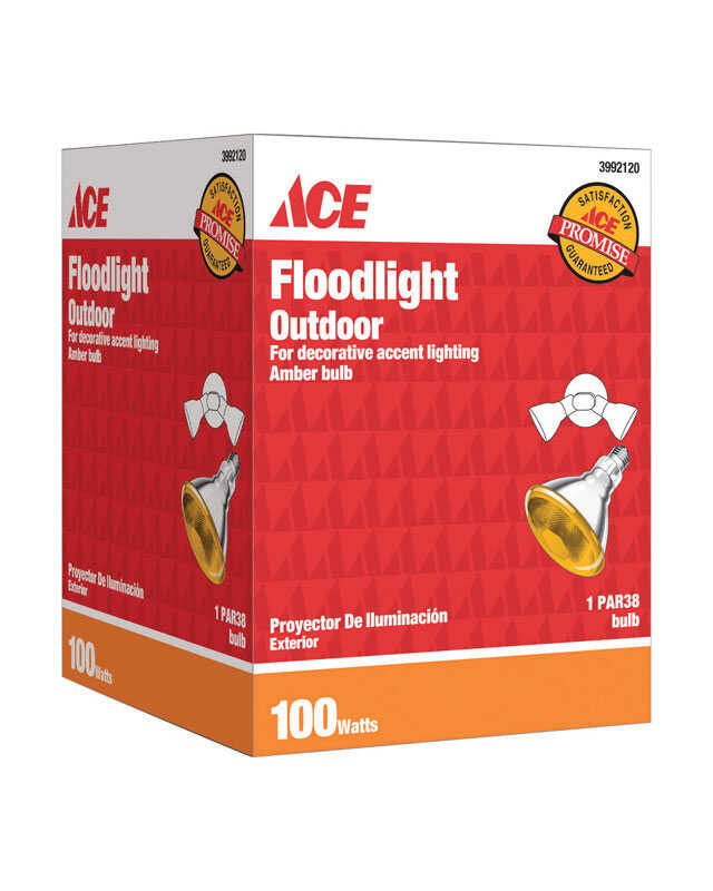 Ace  100 watts PAR38  Floodlight  Incandescent Bulb  E26 (Medium)  Amber  1 pk