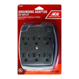 Standard outlet adapters adapters ace hardware ace grounded 6 surge protection 1 pk 6 outlet adapter publicscrutiny Image collections