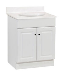 Continental Cabinets  Single  Satin  White  Vanity Combo  24 in. W x 18 in. D x 32 in. H