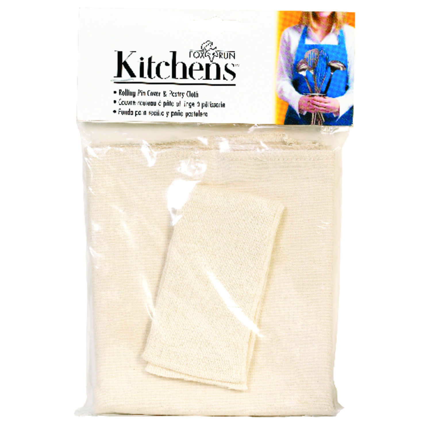 Fox Run  19.5 in. Dia. x 23.5 in. L Cotton  White  Pastry Cloth and Rolling Pin Cover  Kitchens