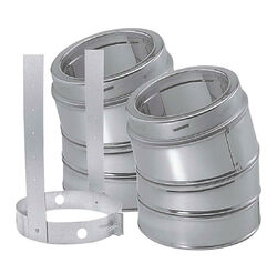 DuraVent  DuraPlus  6 in. Dia. x 6 in. Dia. 30 deg. Galvanized Steel  Elbow Kit with Strap