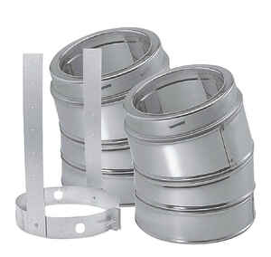 Duravent  6 in. Dia. x 6 in. Dia. 30 deg. Galvanized SteelSteel  Elbow Kit with Strap
