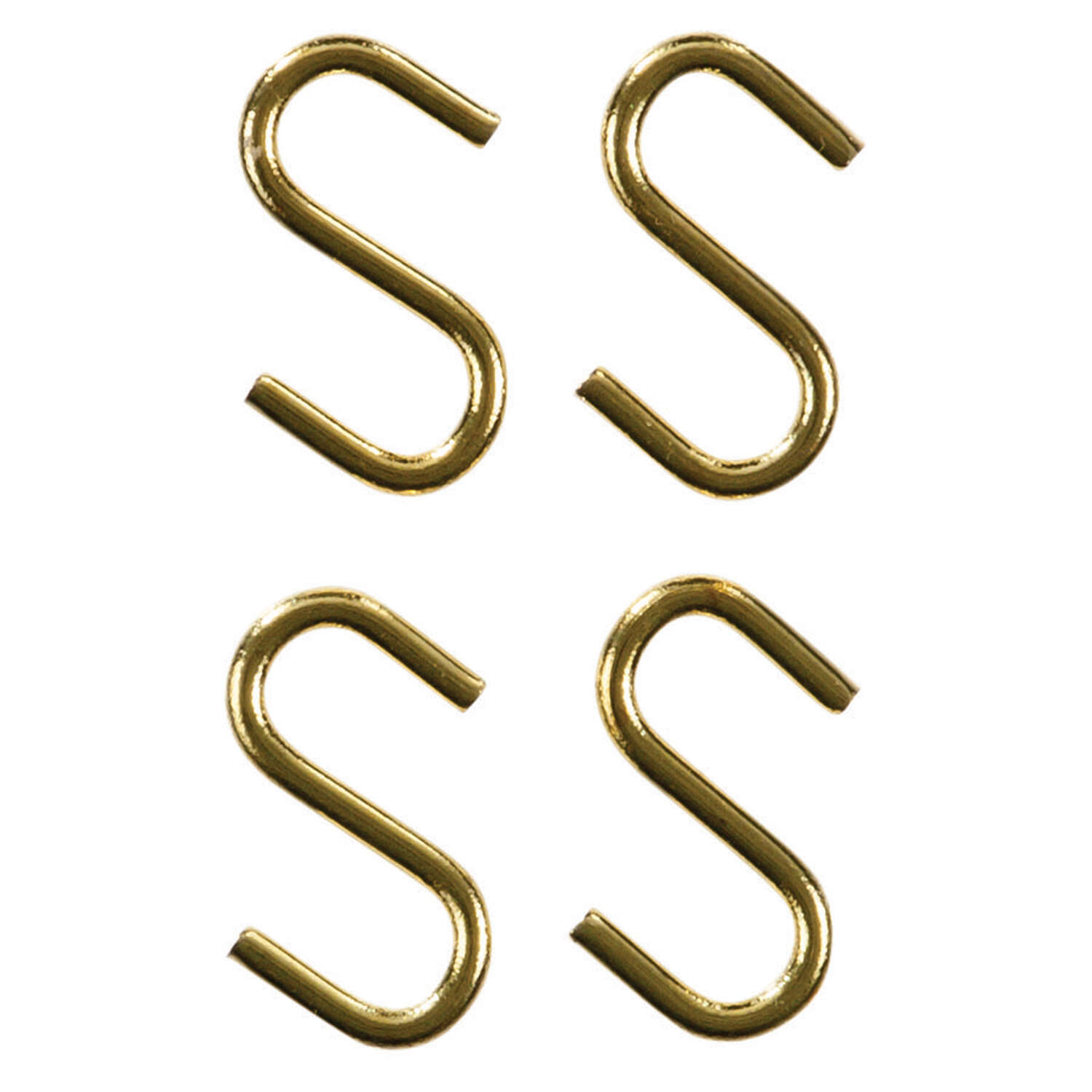 Ace  Small  Polished Brass  Green  Brass  0.6875 in. L S-Hook  5 lb. 4 pk