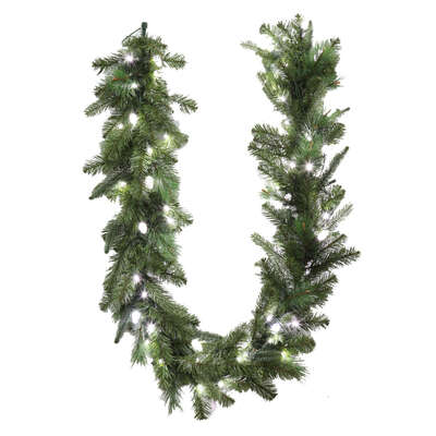 Celebrations  Prelit Green  LED Garland  6 ft. L Pure White