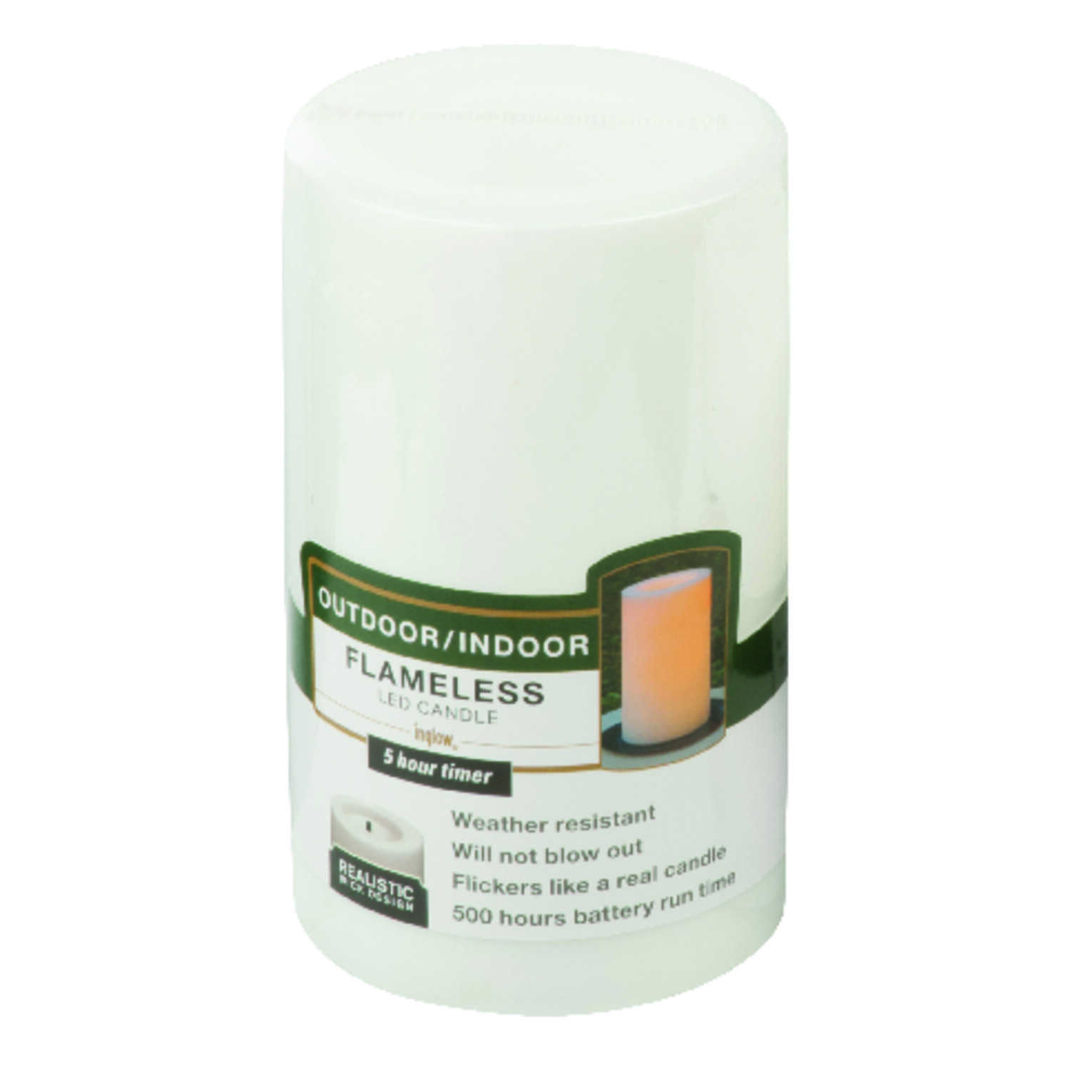 Paradise  White  Unscented Scent Outdoor Pillar  Candle  5 in. H x 3 in. Dia.