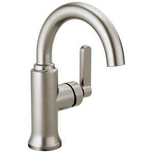 Delta Alux Single Handle Lavatory Faucet 4 in. Spotshield Brushed Nickel