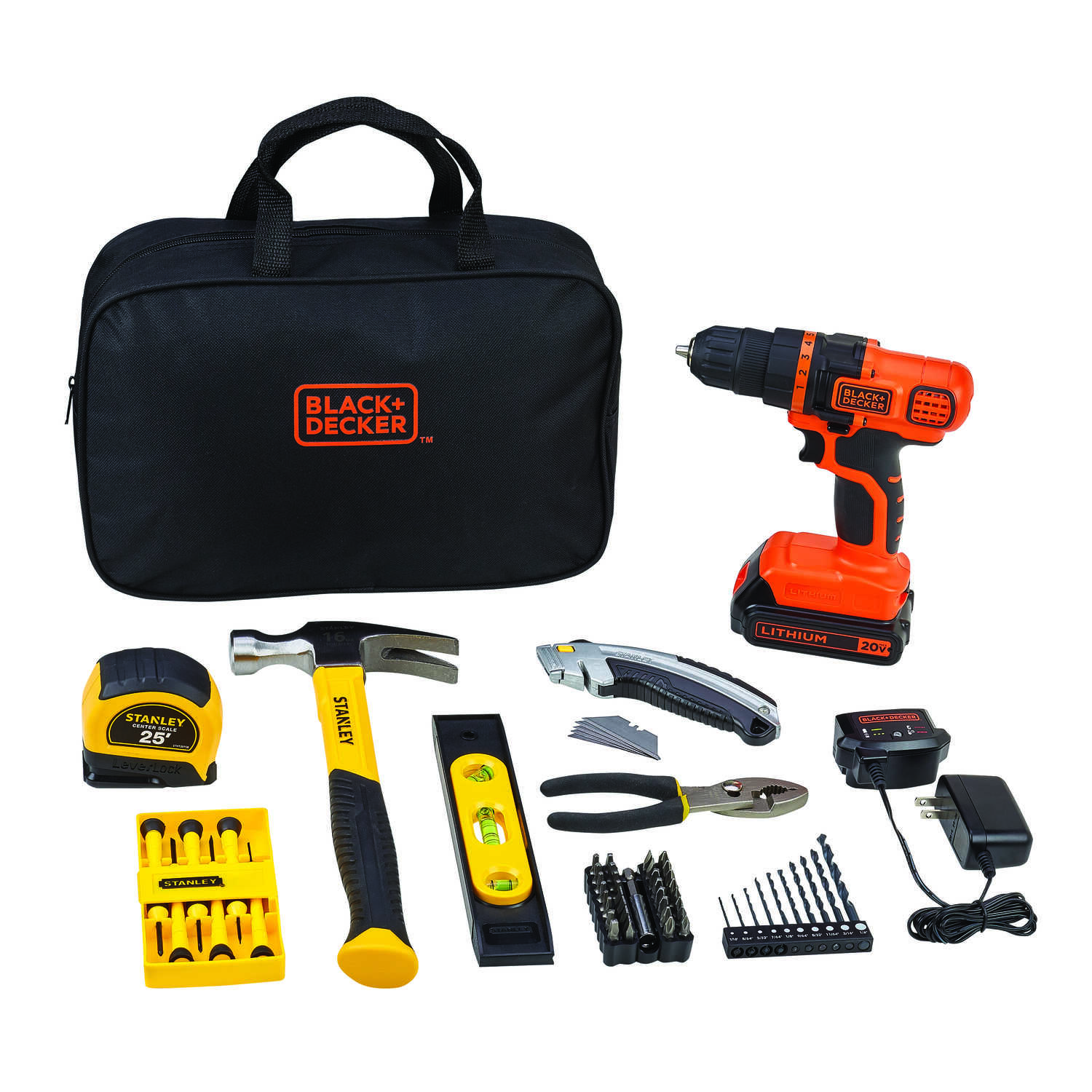 Black and Decker  Stanley  Cordless  66 tool Drill Driver and Home Project Kit  20 volt