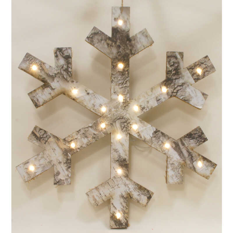 Sienna  Lighted Hanging  Snowflake  White  Birch  1 pc.