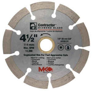 M.K. Diamond  4-1/2  Segmented Rim Circular Saw Blade  7/8-5/8  1 pk Diamond  Contractor