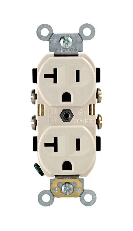 Leviton  20 amps 125 volt Duplex  Light Almond  Outlet  5-20R  1 pk