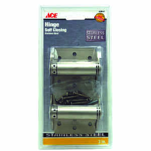 Ace  3 in. L Stainless Steel  2 pk Adjustable Spring Hinge