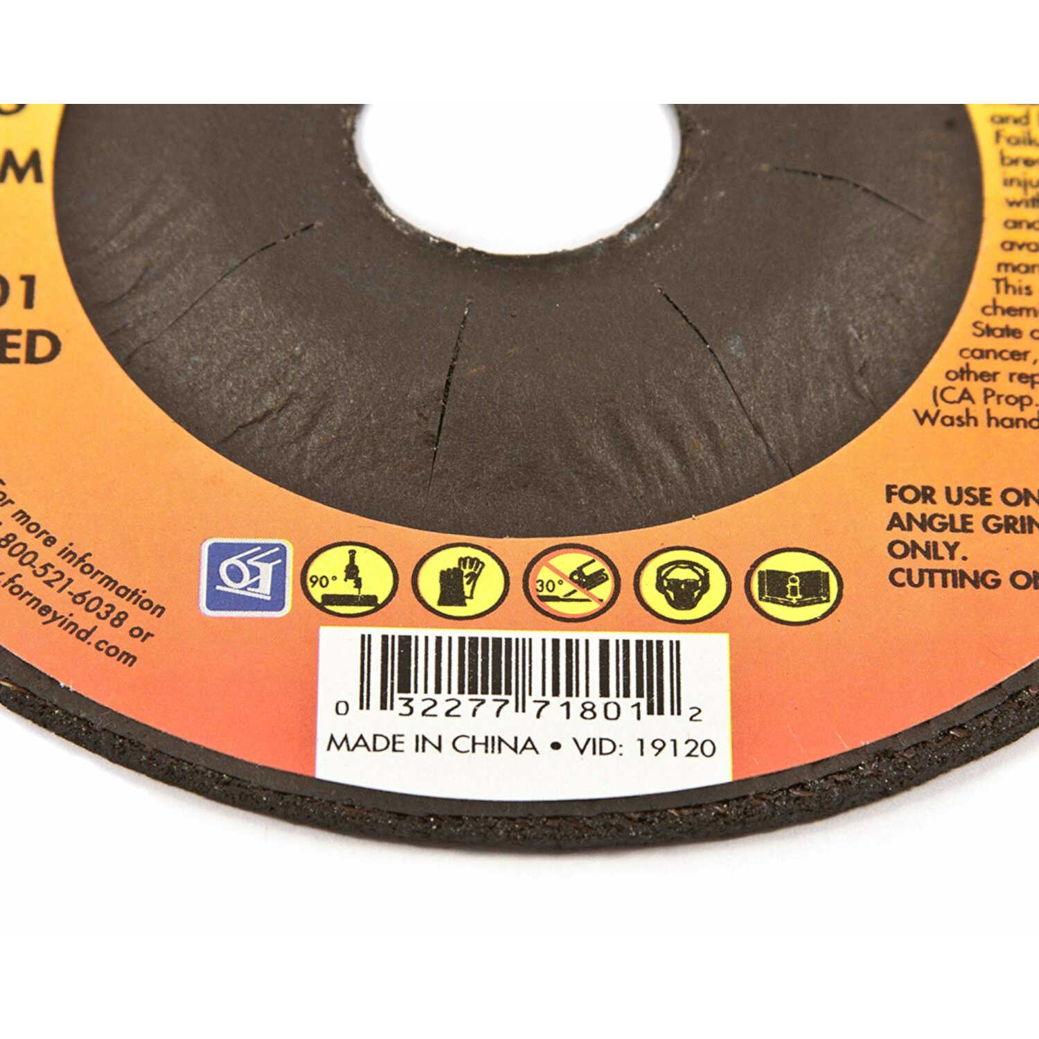 Forney  4-1/2 in. Dia. x 7/8 in.  Aluminum Oxide  Metal Cut-Off Wheel  1 pc.