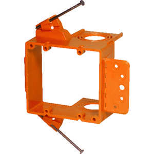 Carlon  3.77 in. L Rectangle  2 gang Low Voltage Mounting Bracket  Orange  7.23 in. PVC