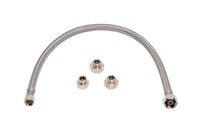 Ace  3/8 in. Compression   x 1/2 in. Dia. x 16 in. L FIP  Braided Stainless Steel  For Faucet supply